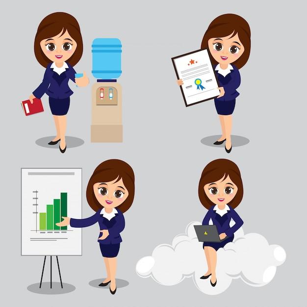Illustrazione del fumetto di personaggi giovani donne di affari in quattro diverse pose Vettore gratuito