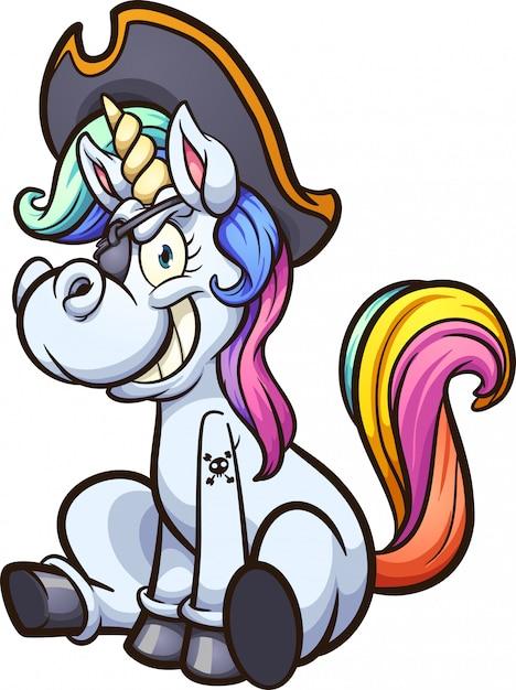 Illustrazione del fumetto di unicorno pirata Vettore Premium