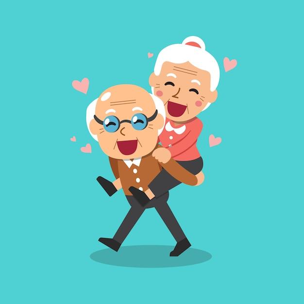 Illustrazione del fumetto di vettore di nonni felici Vettore Premium