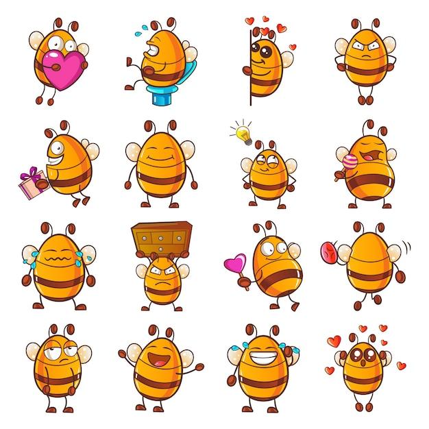 Illustrazione del fumetto honey bee set Vettore Premium