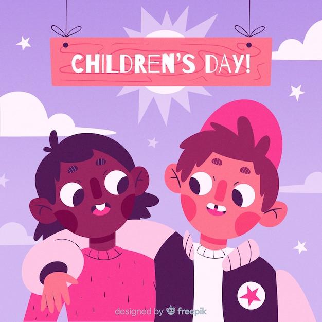 Illustrazione del giorno dei bambini internazionali Vettore gratuito