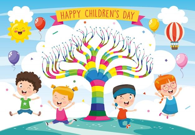 Illustrazione del giorno dei bambini Vettore Premium