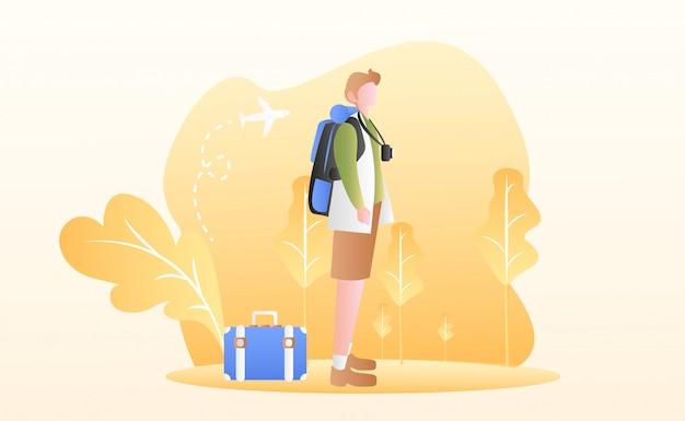 Illustrazione del giorno del turismo Vettore Premium