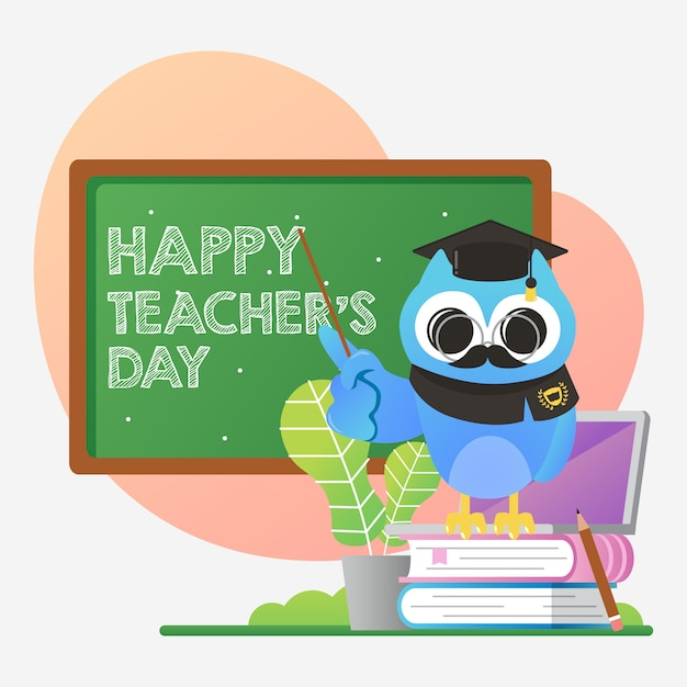 Illustrazione del giorno dell'insegnante di mondo con simpatico gufo blu Vettore Premium
