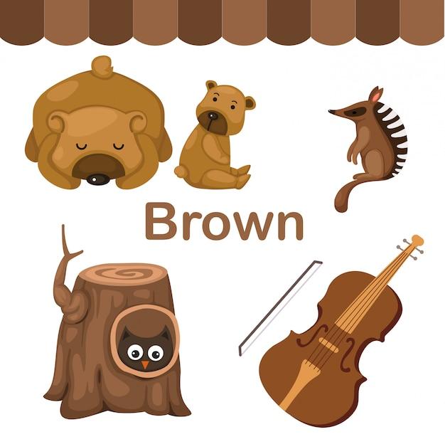 Illustrazione del gruppo di colore marrone isolato Vettore Premium