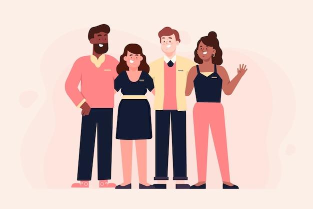Illustrazione del gruppo di persone raccolta Vettore gratuito