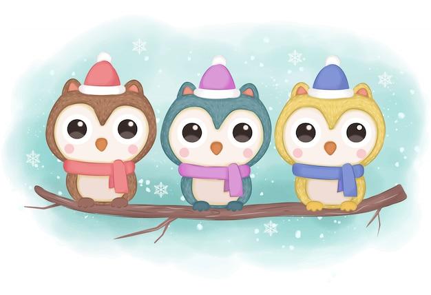 Illustrazione del gufo di inverno per la decorazione Vettore Premium