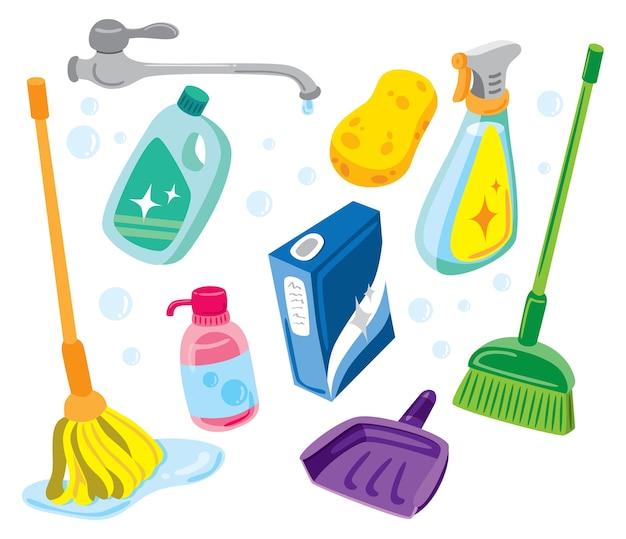 Illustrazione del kit di pulizia Vettore Premium