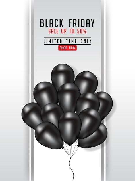 Illustrazione del manifesto di vendita di black friday con i palloni brillanti Vettore Premium