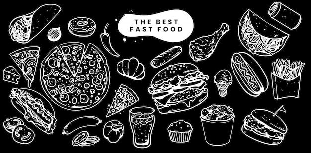 Illustrazione del menu stabilito degli alimenti a rapida preparazione Vettore Premium