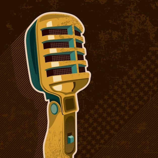 Illustrazione del microfono retrò Vettore Premium