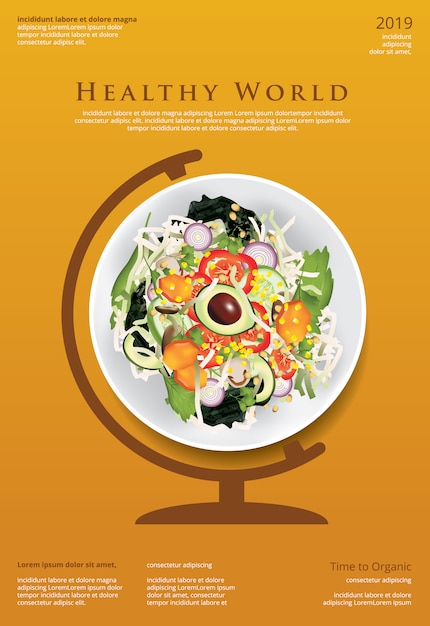 Illustrazione del modello del manifesto dell'alimento biologico dell'insalata di verdure Vettore Premium