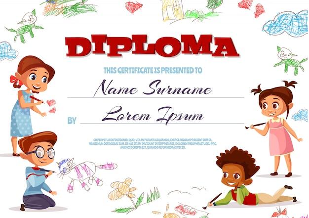 Illustrazione del modello di diploma del certificato di scuola materna per i bambini. Vettore gratuito