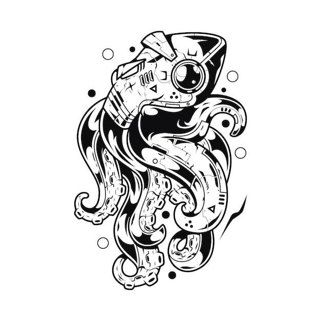 Illustrazione del mostro kraken e design della maglietta Vettore Premium