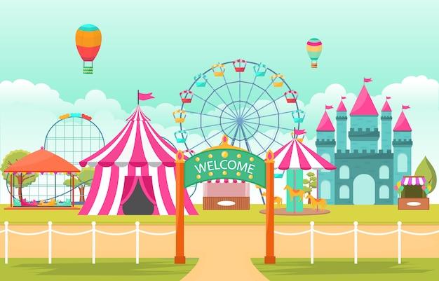 Illustrazione del paesaggio della fiera di divertimento di festival di carnevale del circo del parco di divertimenti Vettore Premium