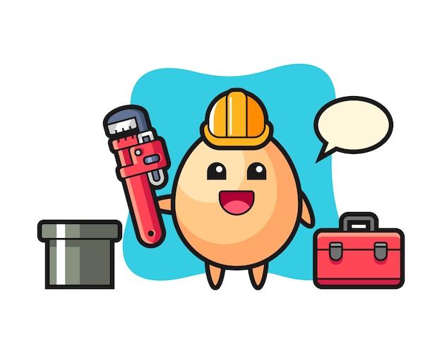 Illustrazione del personaggio di uovo come idraulico, design in stile carino per t-shirt, adesivo, elemento logo Vettore Premium