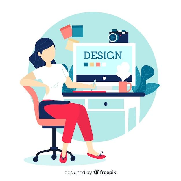 Illustrazione del posto di lavoro di progettazione grafica Vettore Premium
