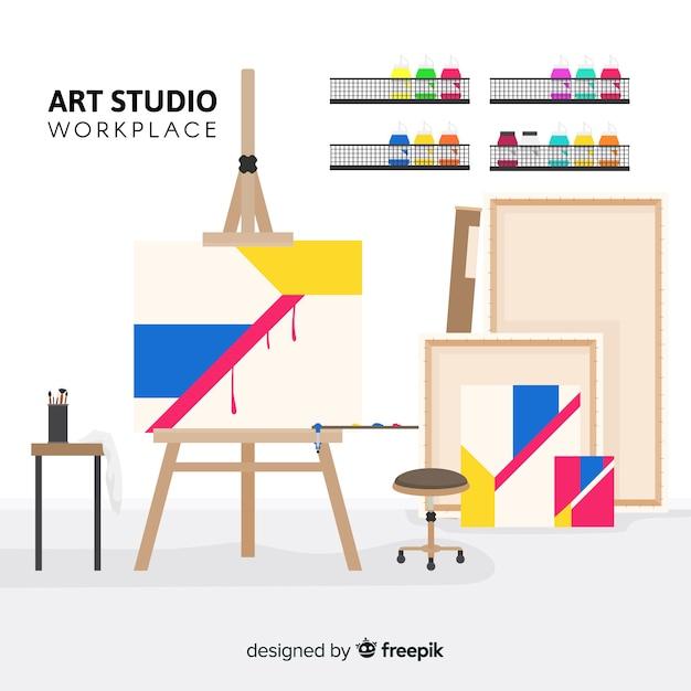 Illustrazione del posto di lavoro di studio arte piatta Vettore gratuito