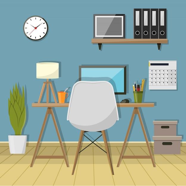 Illustrazione del posto di lavoro moderno in camera. area di lavoro dell'ufficio creativo Vettore Premium