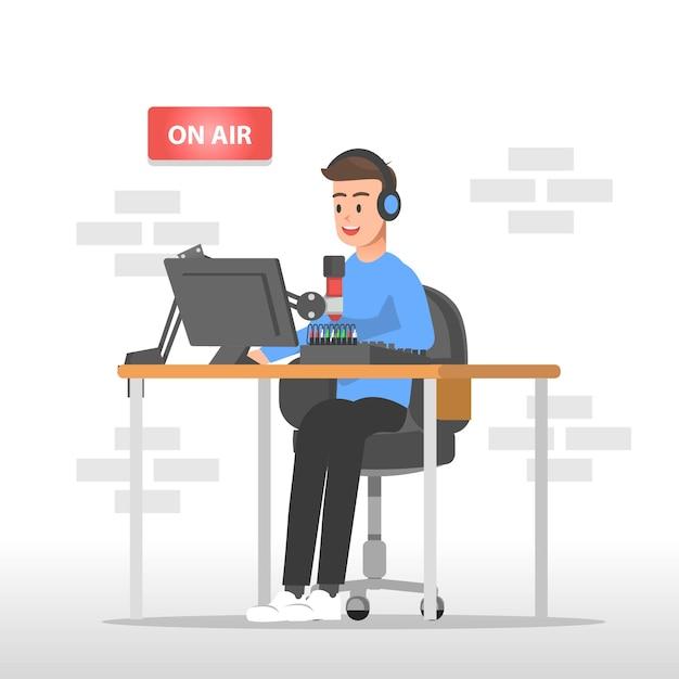 Illustrazione del presentatore radiofonico Vettore Premium