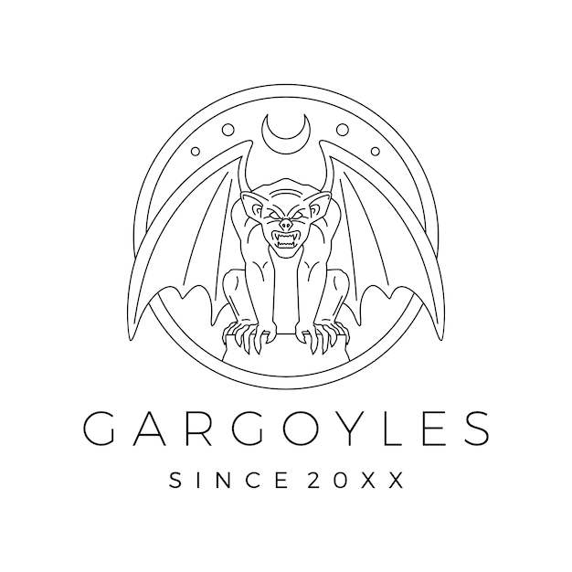 Illustrazione del profilo di vettore di logo del doccione dei gargoyle Vettore Premium