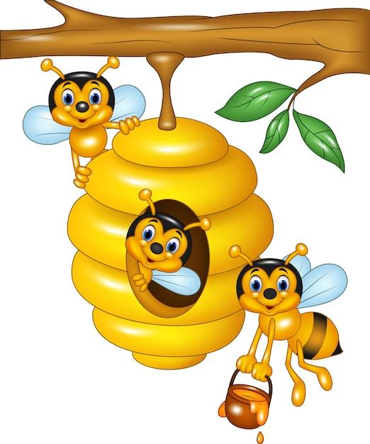 Illustrazione del ramo di un albero con un alveare e le api Vettore Premium