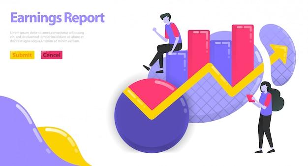 Illustrazione del rapporto sui guadagni. aumentare il reddito delle imprese e delle imprese. grafico e grafico a torta per statistiche. Vettore Premium