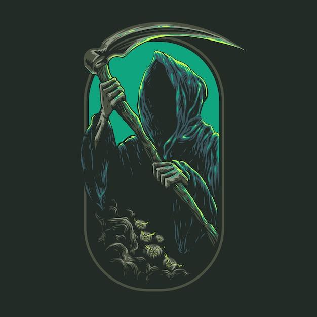 Illustrazione del reaper grim Vettore Premium