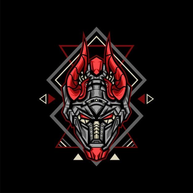 Illustrazione del robot del corno rosso Vettore Premium