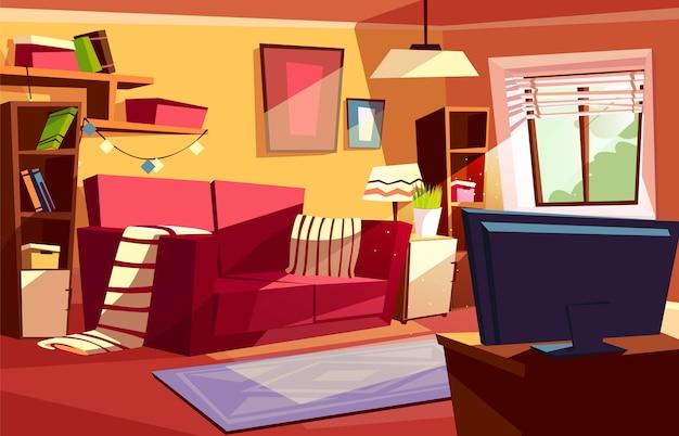 Illustrazione del salone degli interni moderni o retro for Interni appartamenti moderni