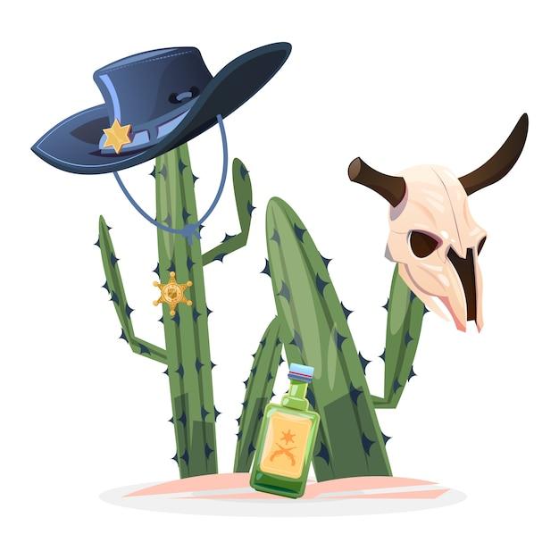 Illustrazione del selvaggio west. cranio di toro di cactus Vettore Premium