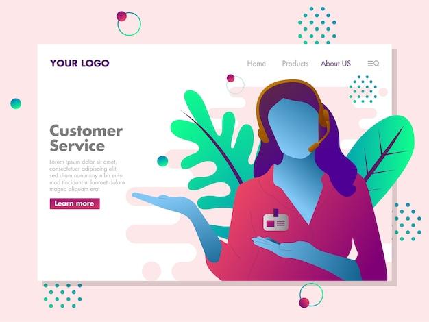 Illustrazione del servizio clienti per la pagina di destinazione Vettore Premium