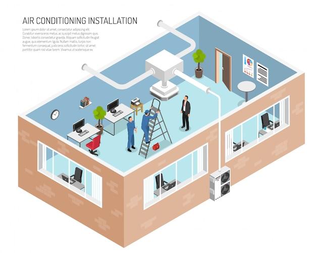 Illustrazione del sistema di condizionamento dell'ufficio Vettore gratuito