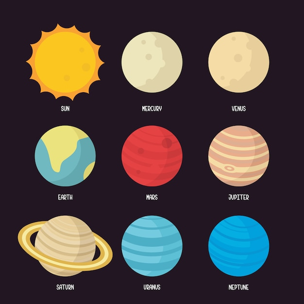 Illustrazione del sistema solare Vettore Premium