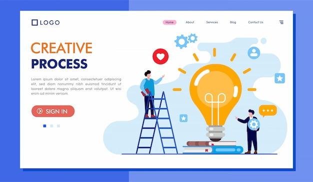 Illustrazione del sito web della pagina di destinazione del processo creativo Vettore Premium