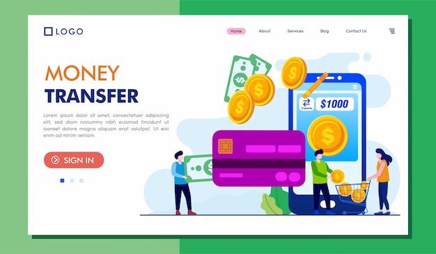 Illustrazione del sito web della pagina di destinazione del trasferimento di denaro Vettore Premium