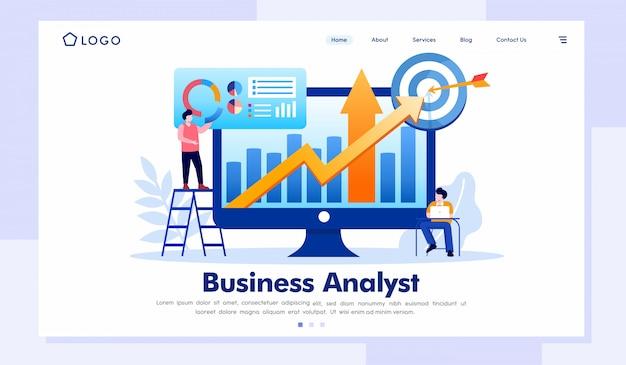 Illustrazione del sito web della pagina di destinazione dell'analista di affari Vettore Premium