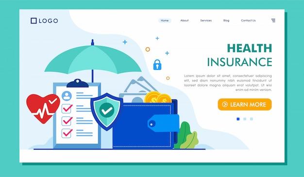 Illustrazione del sito web della pagina di destinazione dell'assicurazione malattia Vettore Premium