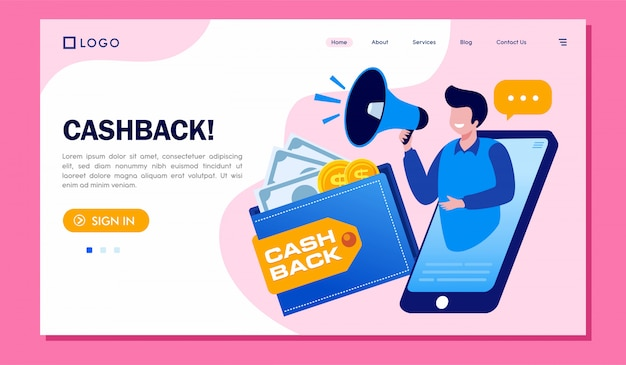 Illustrazione del sito web della pagina di destinazione di cashback Vettore Premium