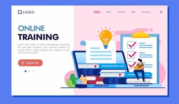 Illustrazione del sito web della pagina di destinazione di formazione online Vettore Premium