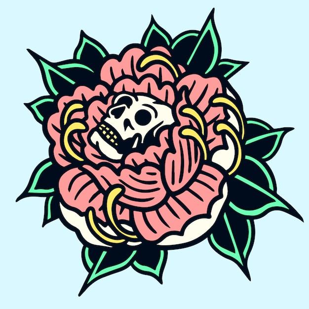 Illustrazione del tatuaggio di vecchia scuola del cranio peonia Vettore Premium
