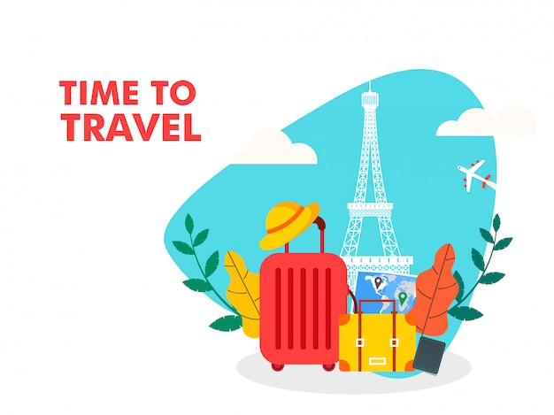 Illustrazione del tempo di viaggiare Vettore Premium