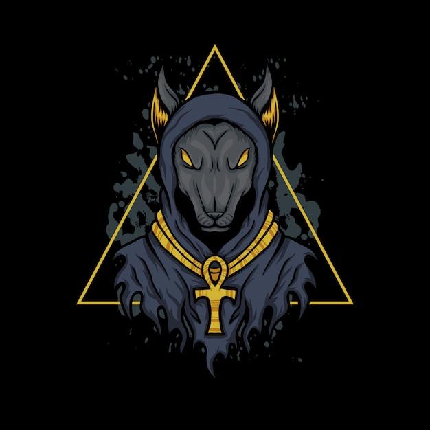 Illustrazione del triangolo del cane di anusbis Vettore Premium
