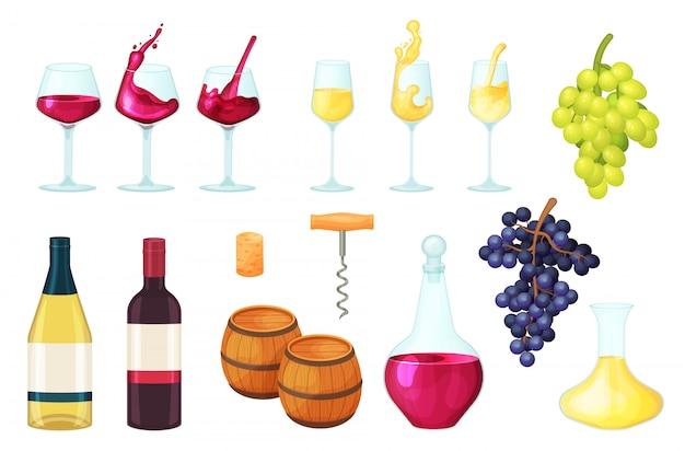 Illustrazione del vino del fumetto, liquido rosso o bianco della bottiglia del bicchiere di vino dell'alcool, in vetro, icone stabilite del barilotto di bevanda su bianco Vettore Premium