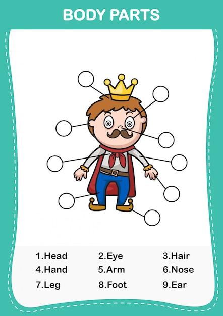 Illustrazione del vocabolario uomo parte del corpo, scrivi i numeri corretti del corpo parts.vector Vettore Premium