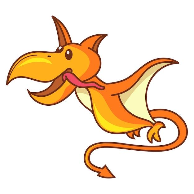 Illustrazione del volo sveglio del pteranodon del dinosauro. Vettore Premium