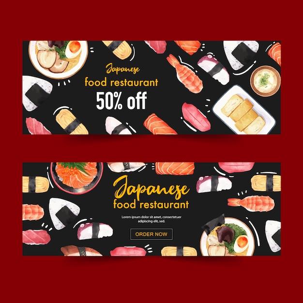 Illustrazione dell'acquerello con sushi a tema creativo per banner, pubblicità e depliant. Vettore gratuito