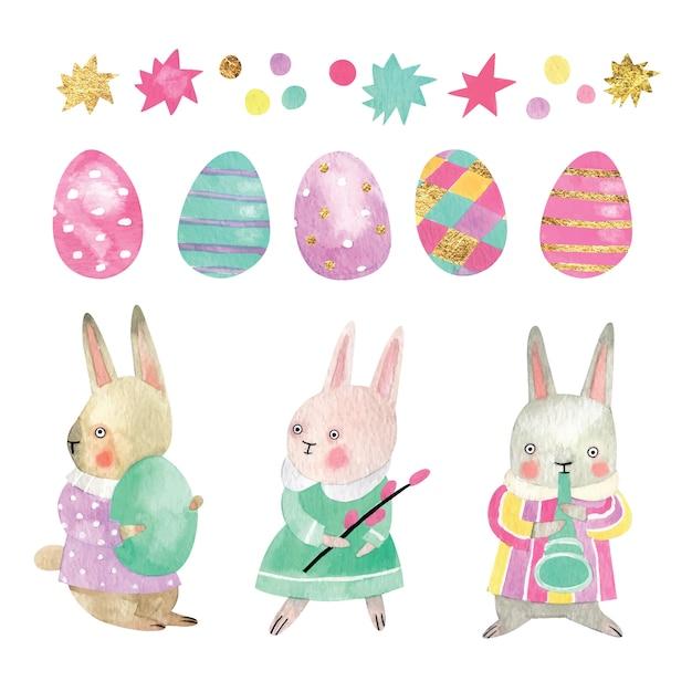 Illustrazione dell'acquerello dei coniglietti di pasqua con le uova, le stelle e la canutiglia colorate. insieme di elementi di pasqua e personaggi disegnati a mano. Vettore Premium