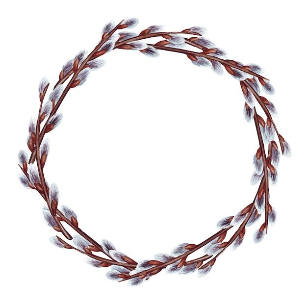 Illustrazione dell'acquerello della corona di pasqua con rami di salice di primavera Vettore Premium