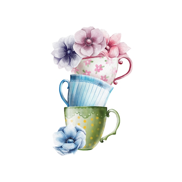 Illustrazione dell'acquerello di tazze da the colorate con fiori di anemone Vettore Premium